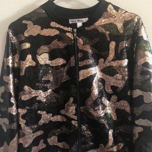 Sequined camo jacket.